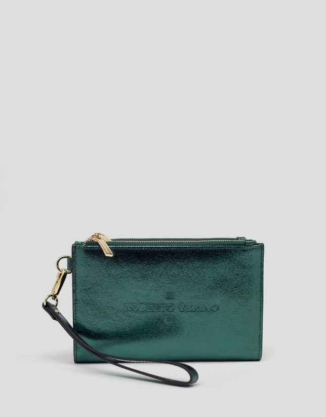 Green metalized two-part leather wallet