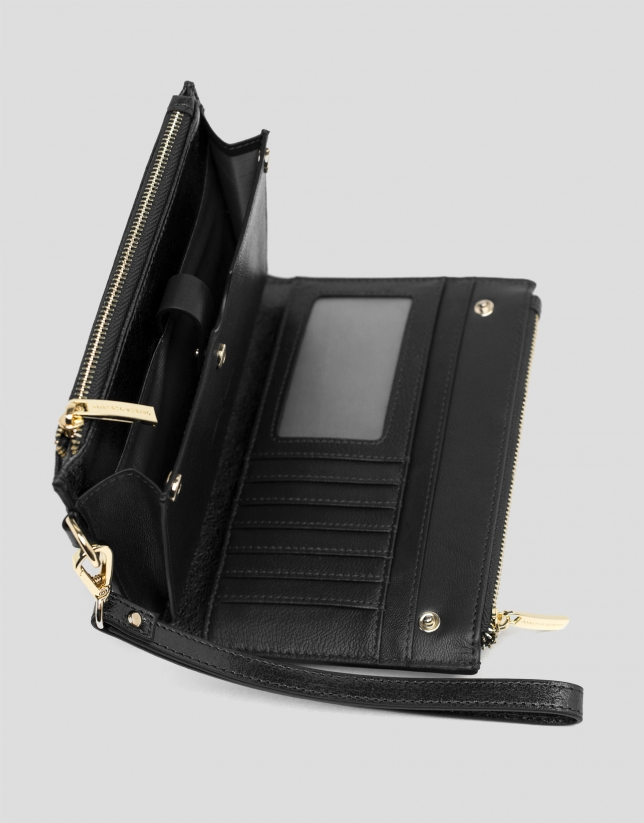 Black metalized two-part leather wallet