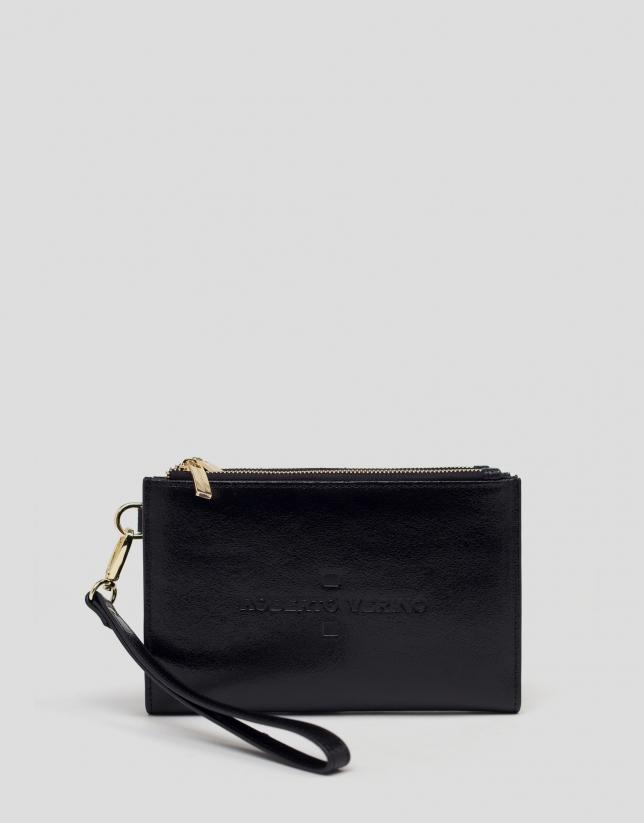 Portefeuille double en cuir noir métallisé