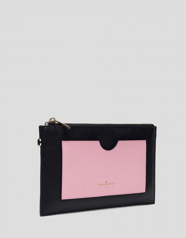 Saffiano leather Orchidees flat wallet