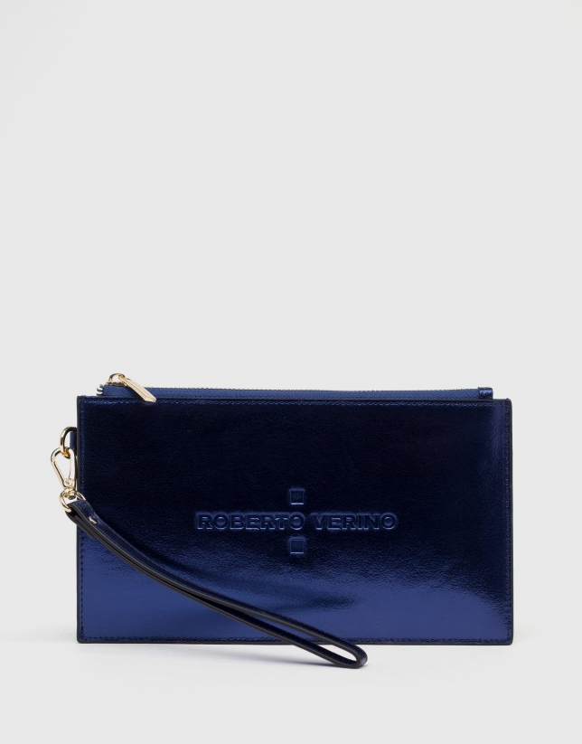 Blue metalized flat leather vanity case