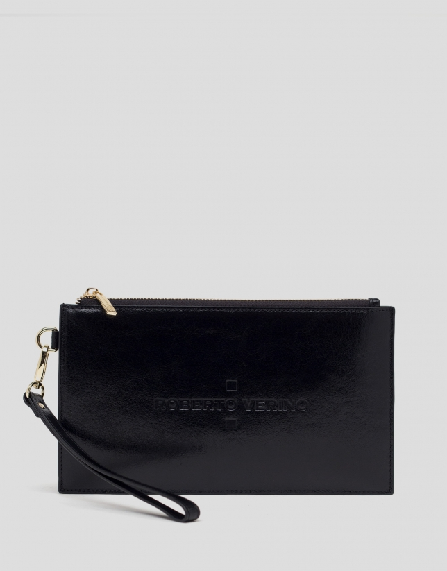 Black metalized leather flat wallet