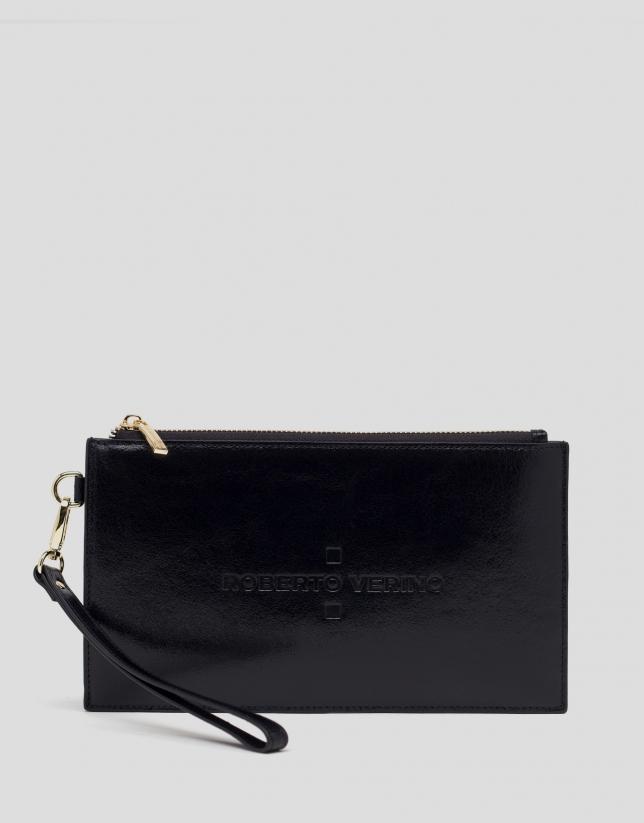 Black metalized flat leather vanity case