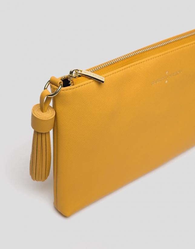 Mustard Lisa Saffiano clutch bag