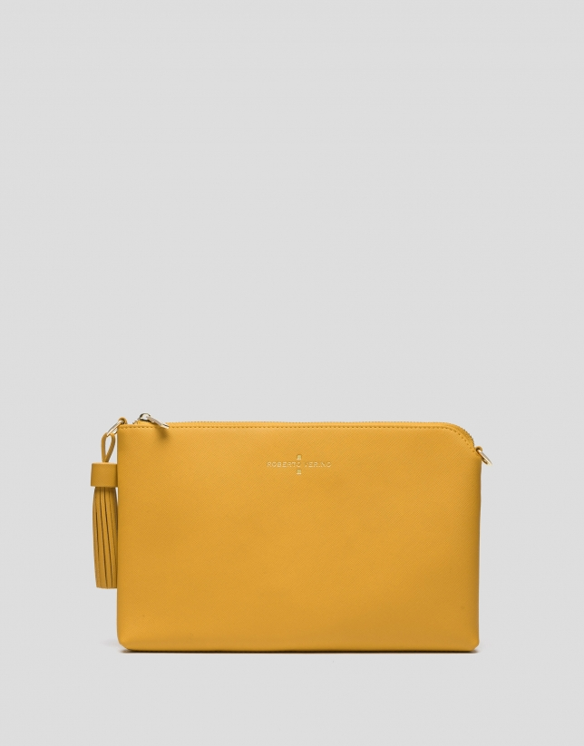 Mustard Lisa Saffiano clutch bag