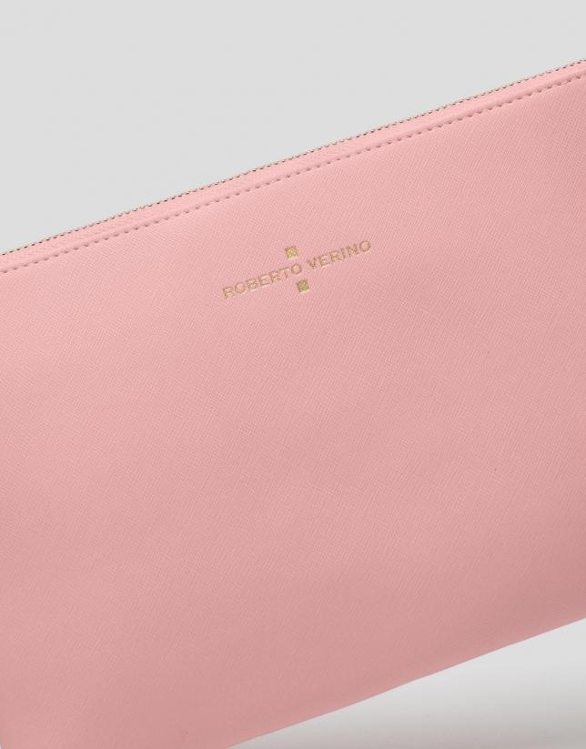 Bolso clutch Lisa piel saffiano rosa