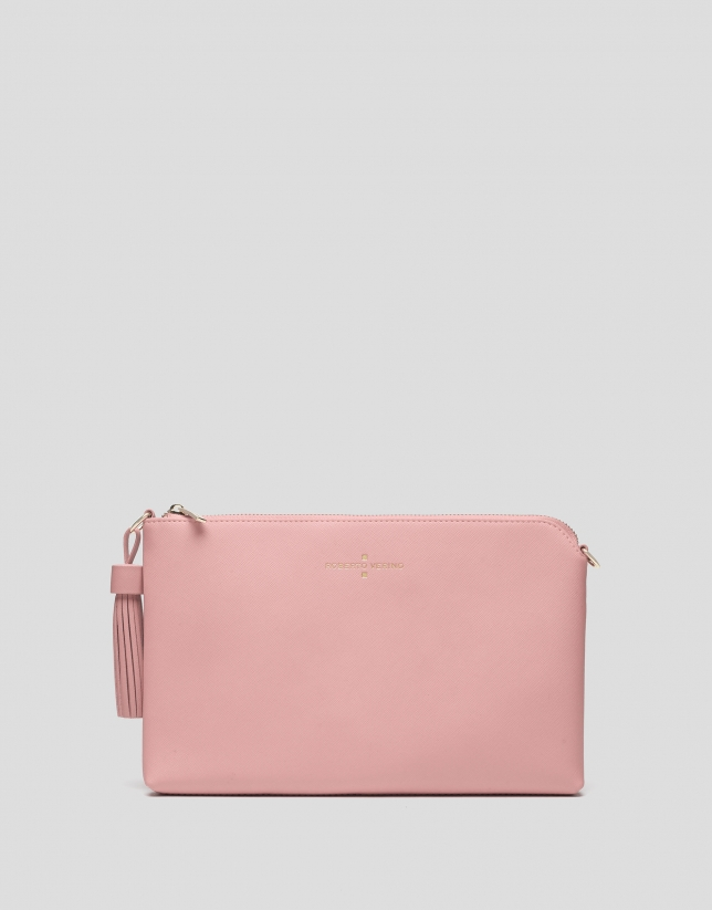 Pink Lisa Saffiano clutch bag