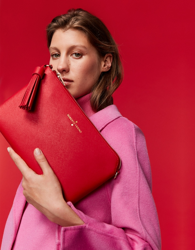 Red Lisa Saffiano clutch bag