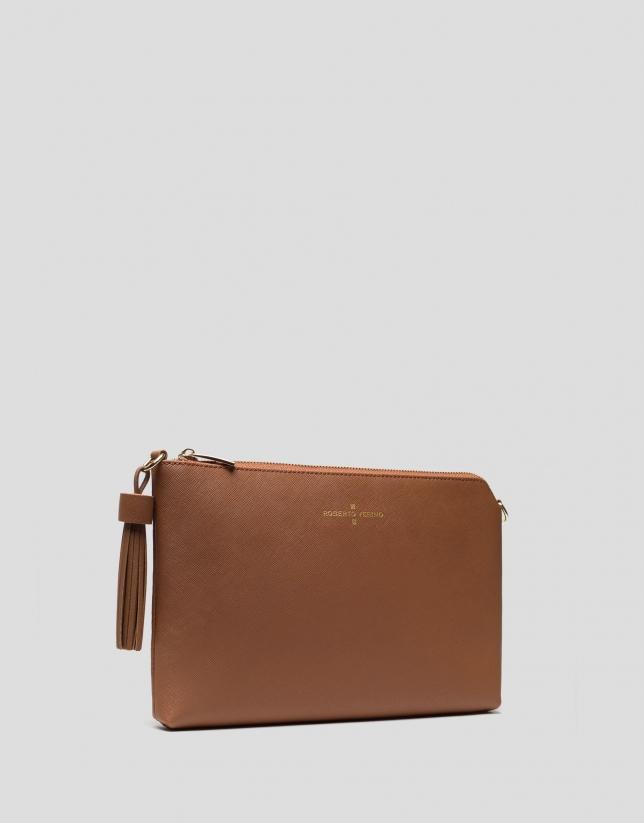 Brown Lisa Saffiano clutch bag