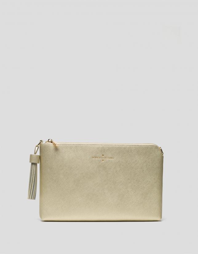 Bolso clutch Lisa piel saffiano dorada