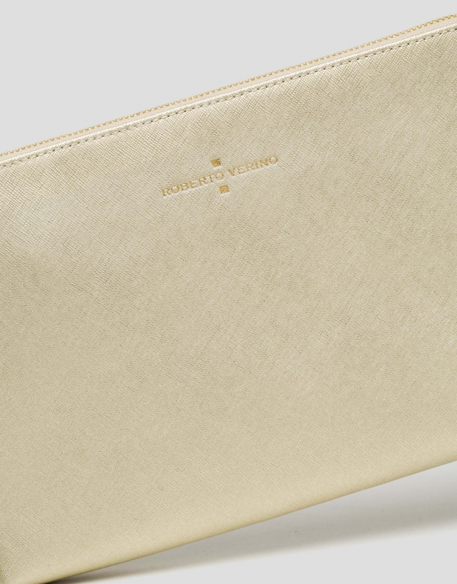 Gold Lisa Saffiano clutch bag