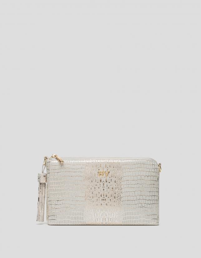 Gold alligator Nano Lisa Saffiano clutch bag