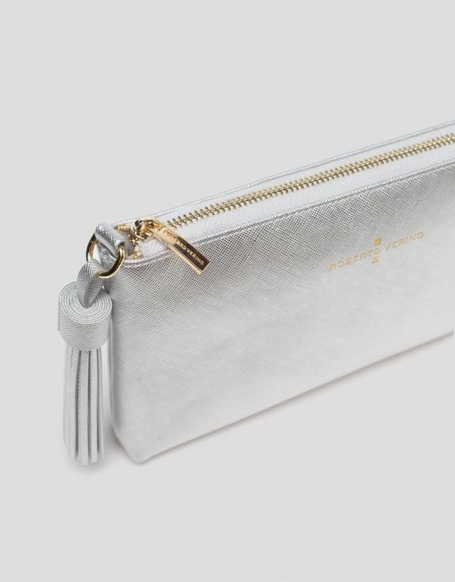 Bolso clutch Lisa Nano piel plata