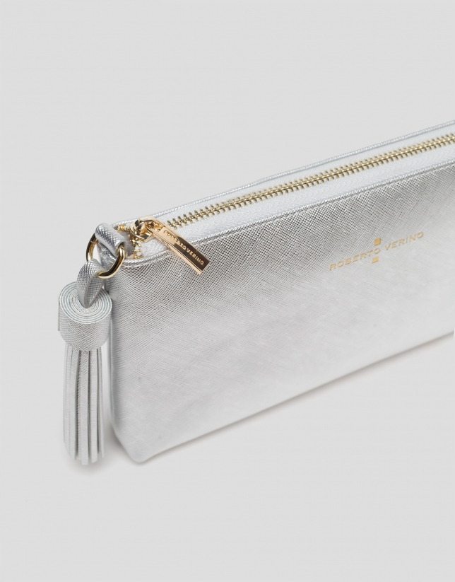 Silver Nano Lisa Saffiano clutch bag