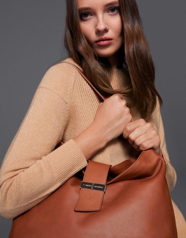 Brown leather Victoria hobo bag