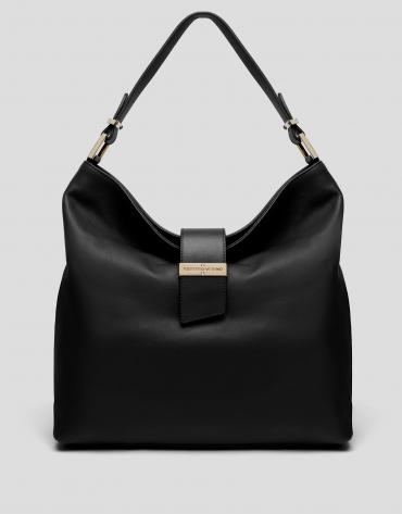 Black leather Victoria hobo bag