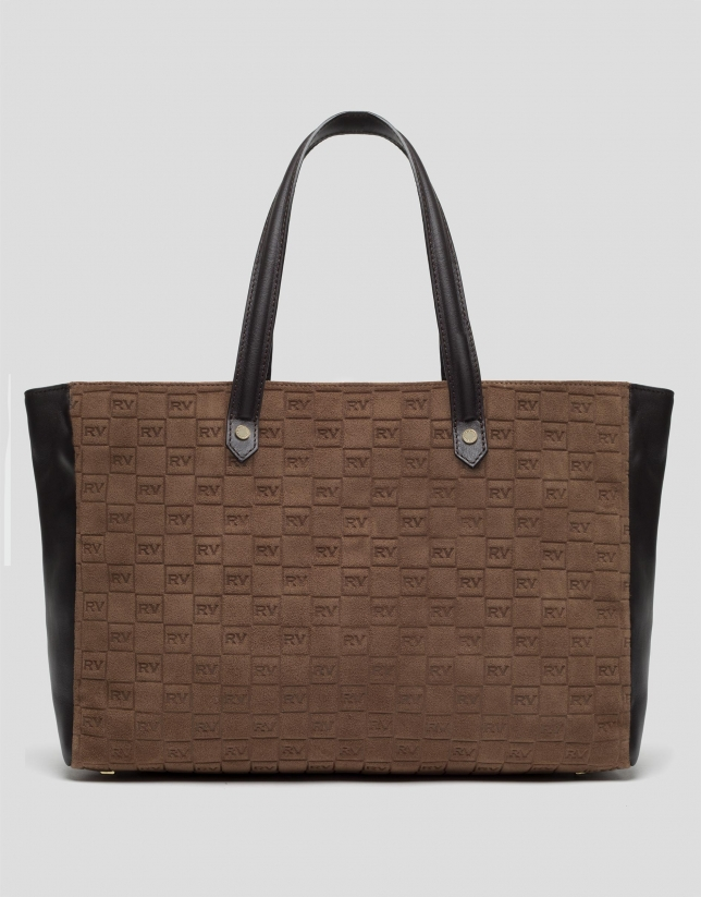 Brown suede shopping bag with logos