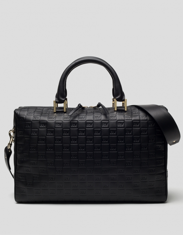 Black embossed leather Uve bowling bag