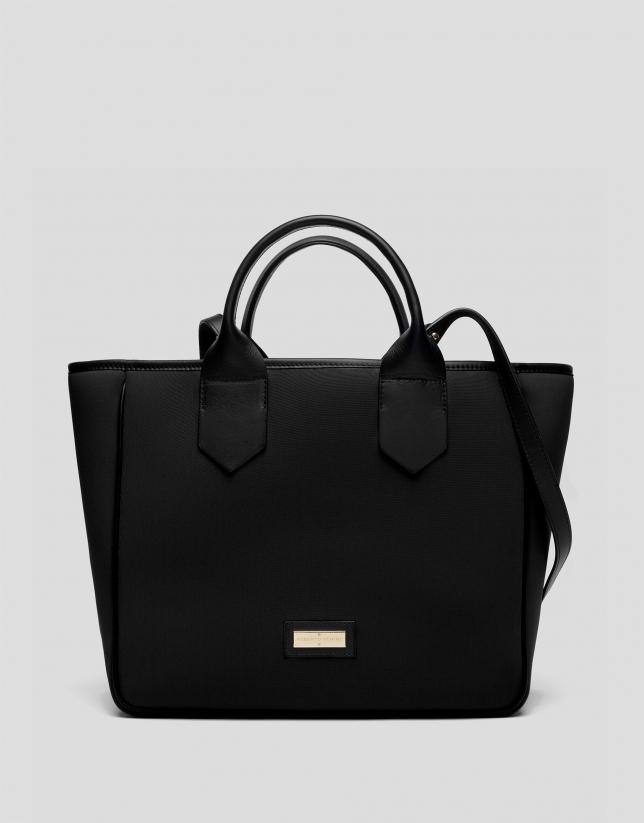 Black midi Neox neoprene shopping bag