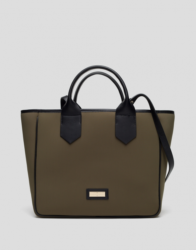 Green midi Neox neoprene shopping bag