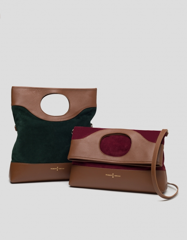 Burgundy leather and split leather Kate bag