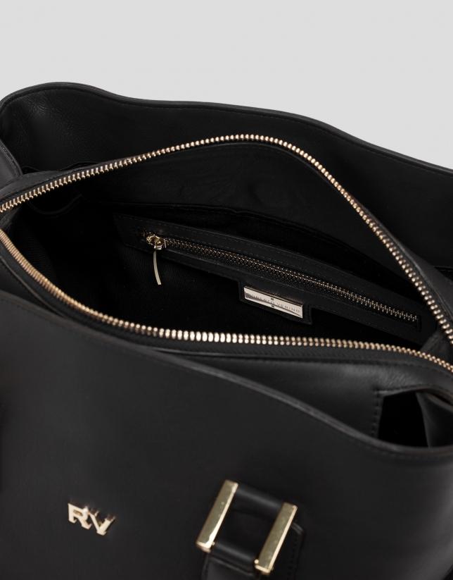 Sac satchel Classic en cuir noir