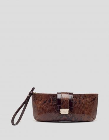 Maira snakeskin print clutch bag