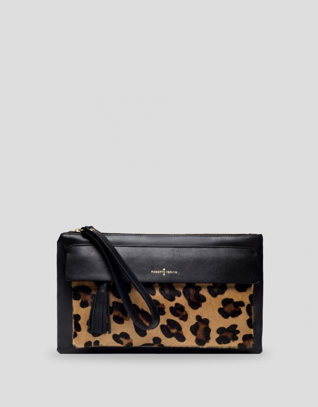 Wild animal print clutch bag