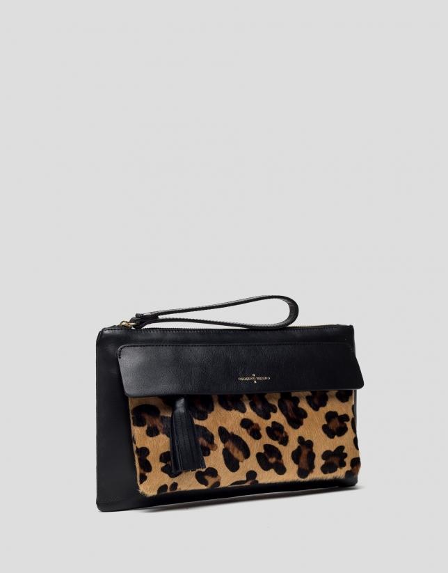 Wild animal print clutch bag