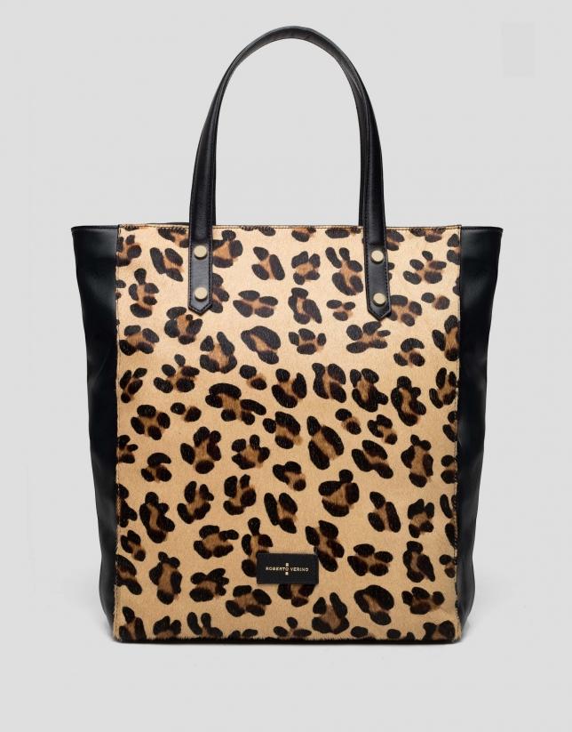 Wild animal print maxi shopping bag