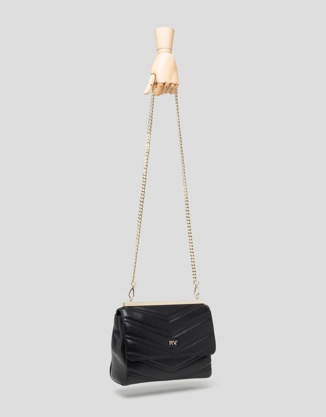 Black quilted leather handbag