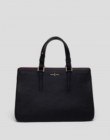 Black Saffiano leather Orchidees handbag