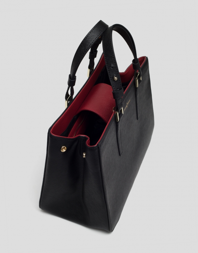 Black Saffiano leather Orchidees handbag