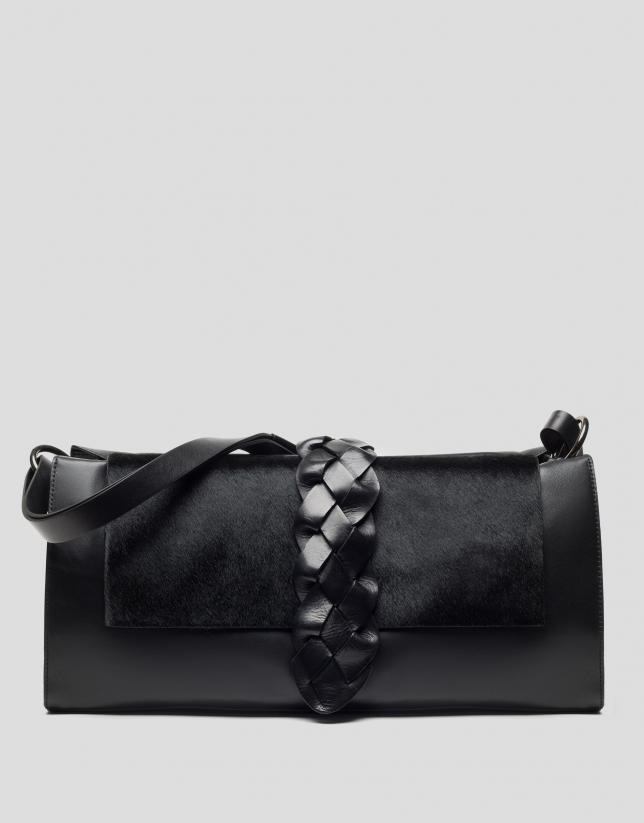 Bolso shopper Laura negro tapeta pelo potro