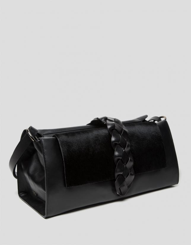 Black Laura shopping bag with foal hair flap
