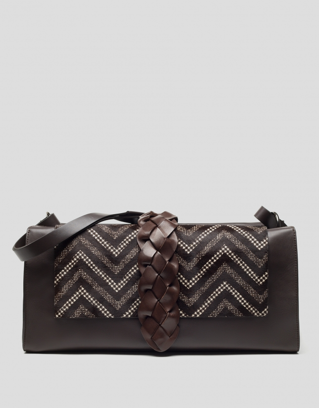 Brown Laura shopping bag with geometric flap