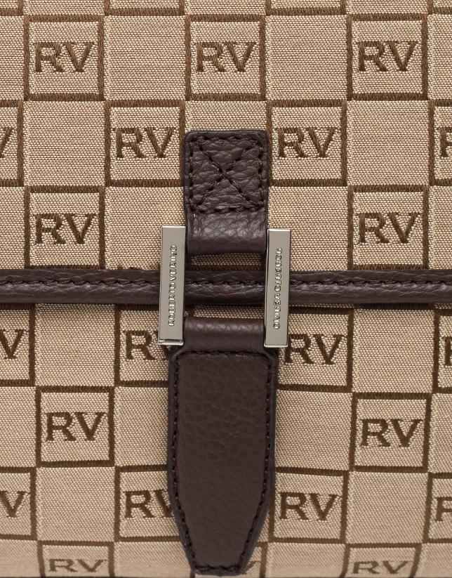 Bolso Bonjour Cross lona logos marrón