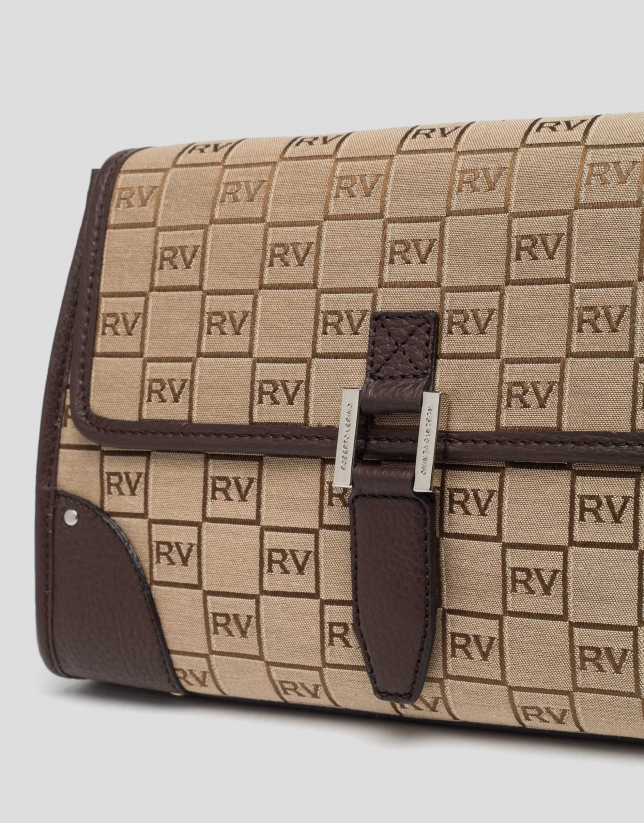 Brown Bonjour Cross canvas bag with logos