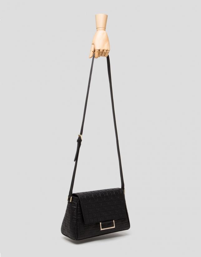 Black Bonjour Cross canvas bag with logos