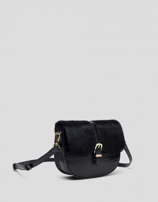 Black Equestre leather shoulder bag