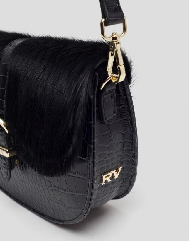 Black Equestre leather shoulder bag