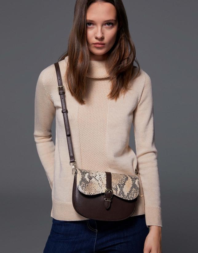 Brown Equestre leather shoulder bag