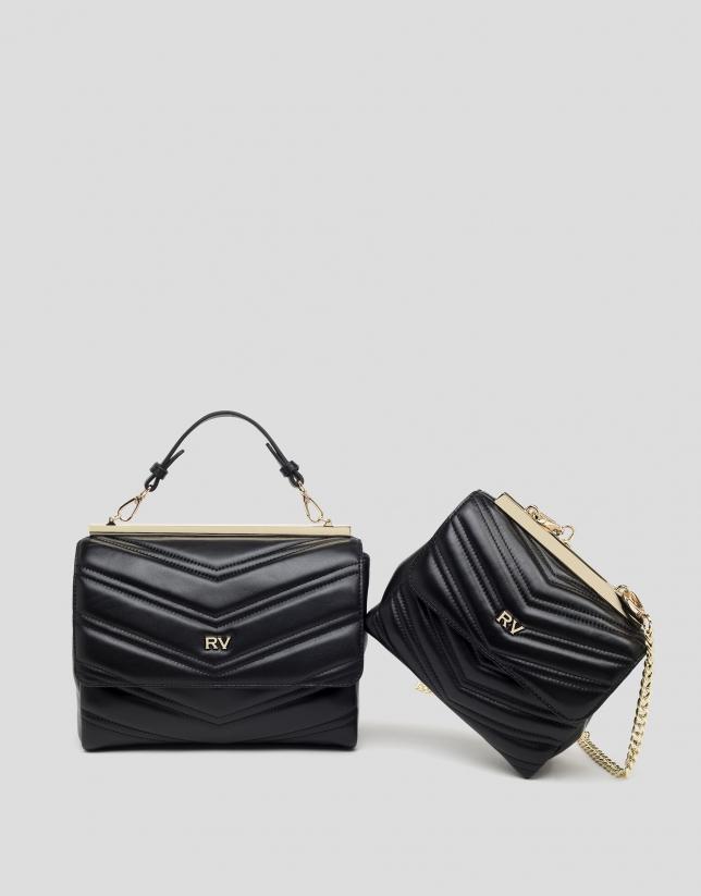 Black quilted leather shoulder bag
