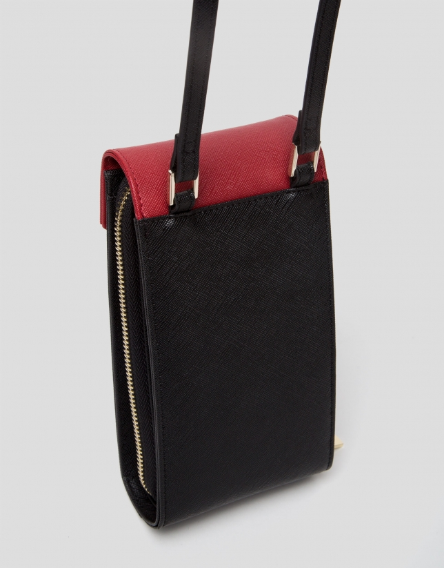 Saffiano leather Orchidees neckbag