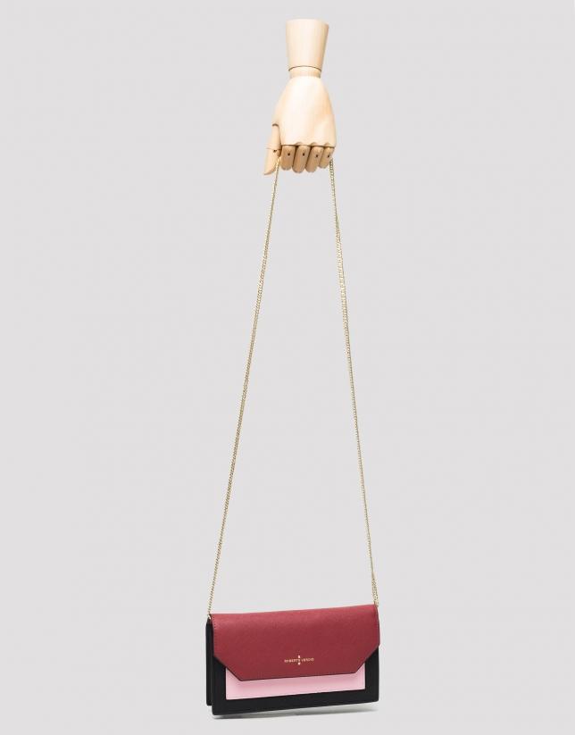 Mini sac bandoulière Orchidées en cuir saffiano