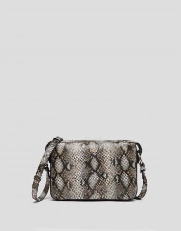Natural leather snakeskin embossed Trèsse shoulder bag