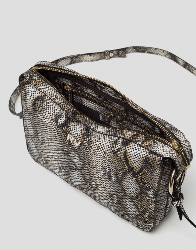 Natural leather snakeskin embossed Trèsse shoulder bag