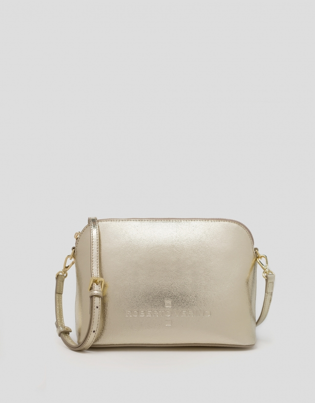 Shiny gold leather shoulder bag