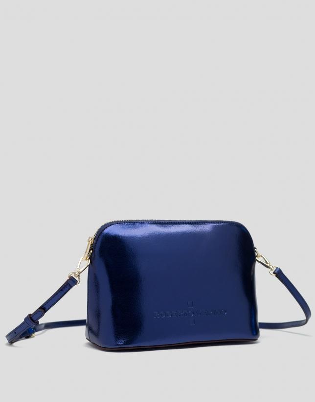 Blue shiny leather shoulder bag