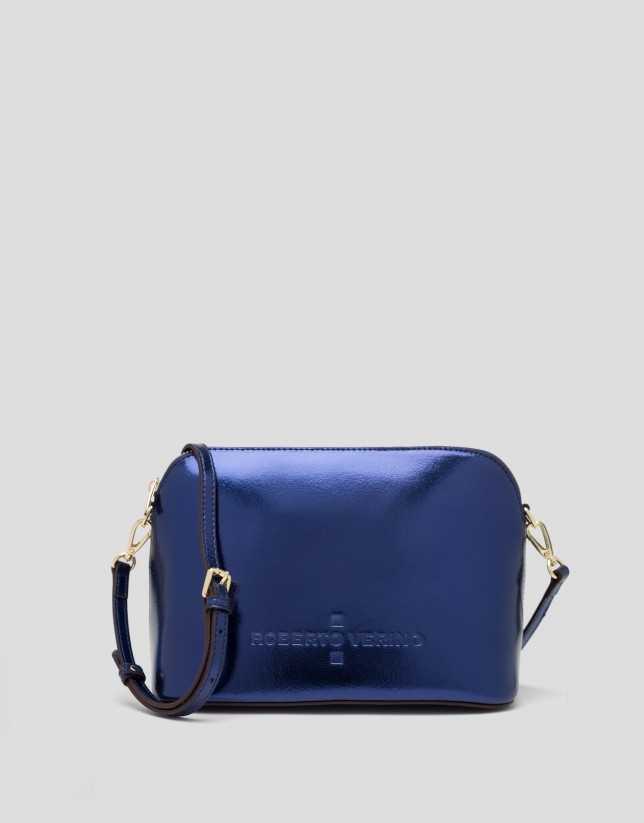Blue shiny leather shoulder bag